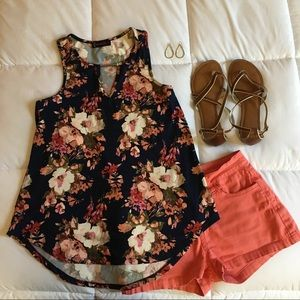 Floral Stretch Blouse Navy
